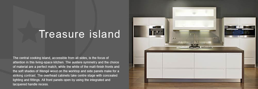 For the living-space kitchen a free-standing cooking island is very suitable. White matt lacquered fronts, worktop and side panels in Wengé, Miele appliances and handle-less design.